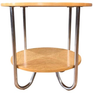 Two-Tier Maple Side Table Attributed to Wolfgang Hoffmann for Royal-Chrome For Sale