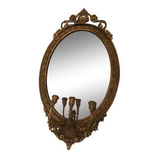 19th Century Antique Gilt Wood Girandole Mirror Three Candelabra For Sale