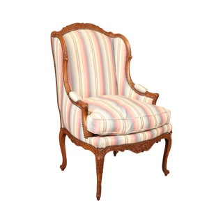 French Louis XV Custom Quality Carved Walnut Bergere Chair For Sale