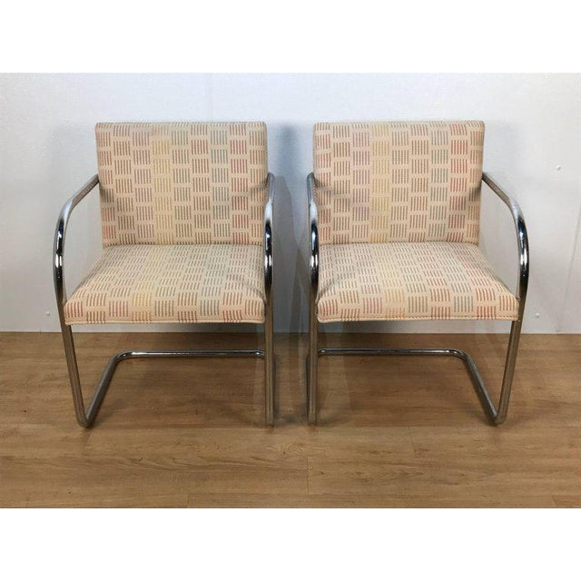 Eight Mid-Century Brono tubular chairs, designed by Ludwig Mies van der Rohe, each one with tubular chrome steel...