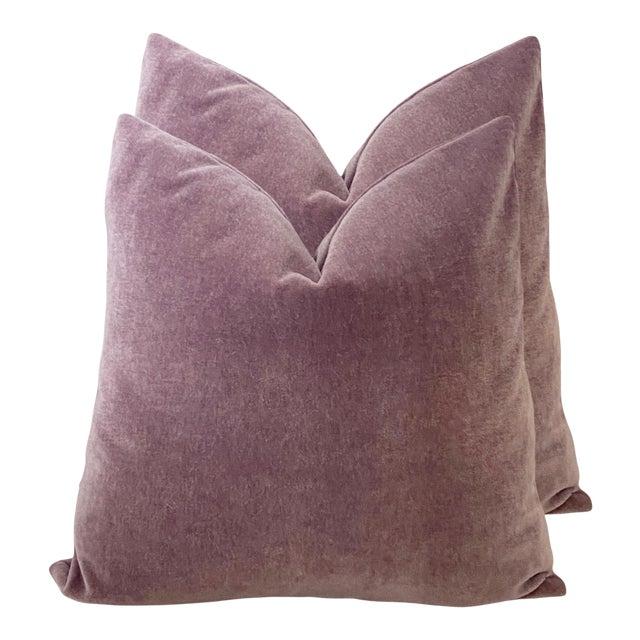 "Amethyst Mohair 18"" Pillows - a Pair For Sale"