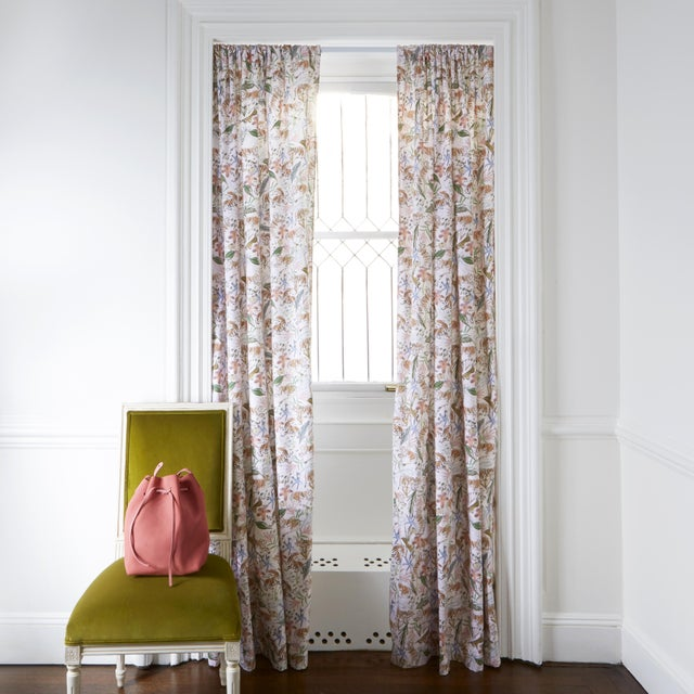 """Chinoiserie Pepper Frida Pink 50"""" x 84"""" Blackout Curtains - 2 Panels For Sale - Image 3 of 4"""