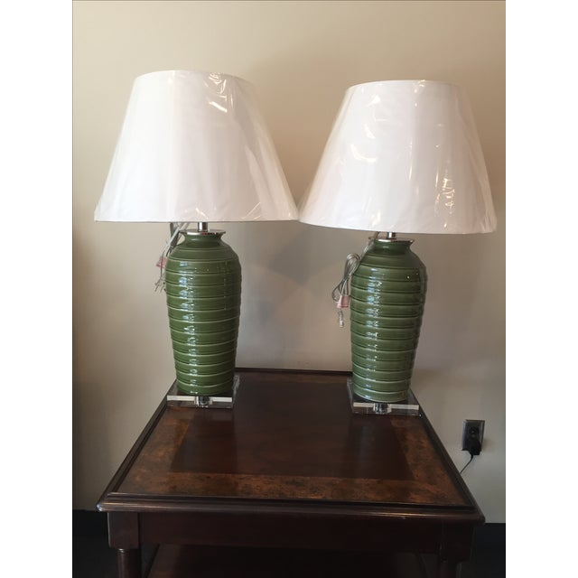 Port 68 Palm Green Glazed Lamps - Pair - Image 2 of 5