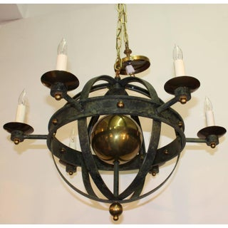 1960's Vintage Verdigris Metal and Brass Globe Chandelier Preview