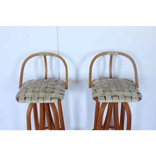 Danish Modern 1980's Vintage Bentwood & Leather Bar Stools- A Pair For Sale - Image 3 of 4