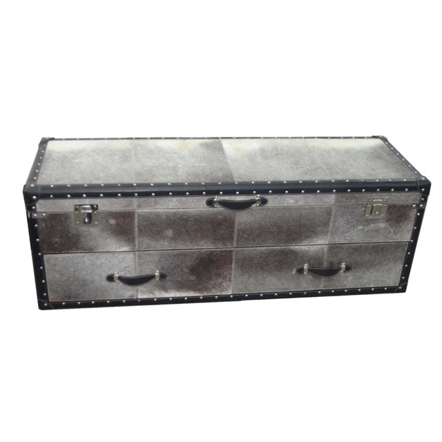Black and White Hair Leather Bedside Trunk Box - Image 1 of 4
