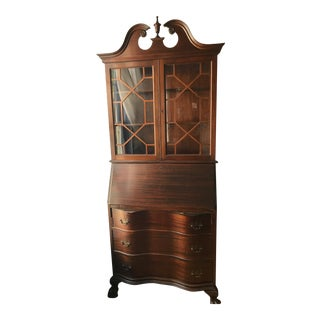 Queen Ann Mahogany Secretary Desk Armoire