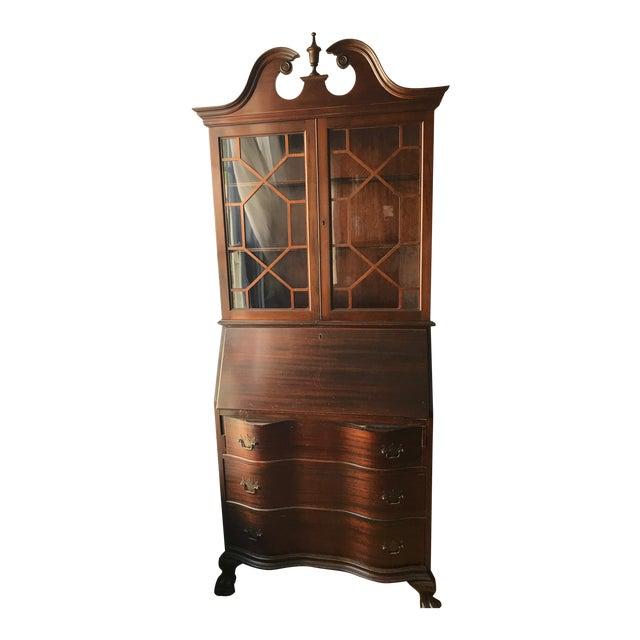 Queen Ann Mahogany Secretary Desk Armoire For Sale