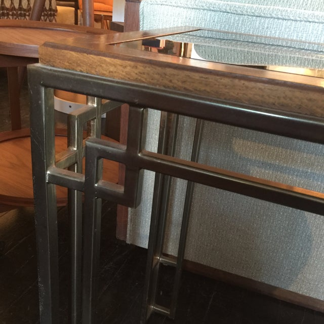 Midcentury Modern Brass Base Console Table - Image 8 of 9
