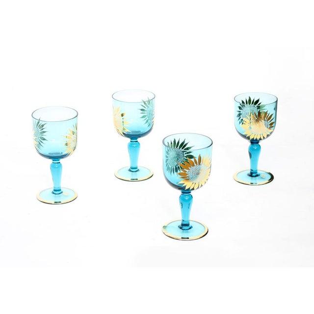 Vintage Sunflower Glasses - Set of 4 - Image 2 of 8
