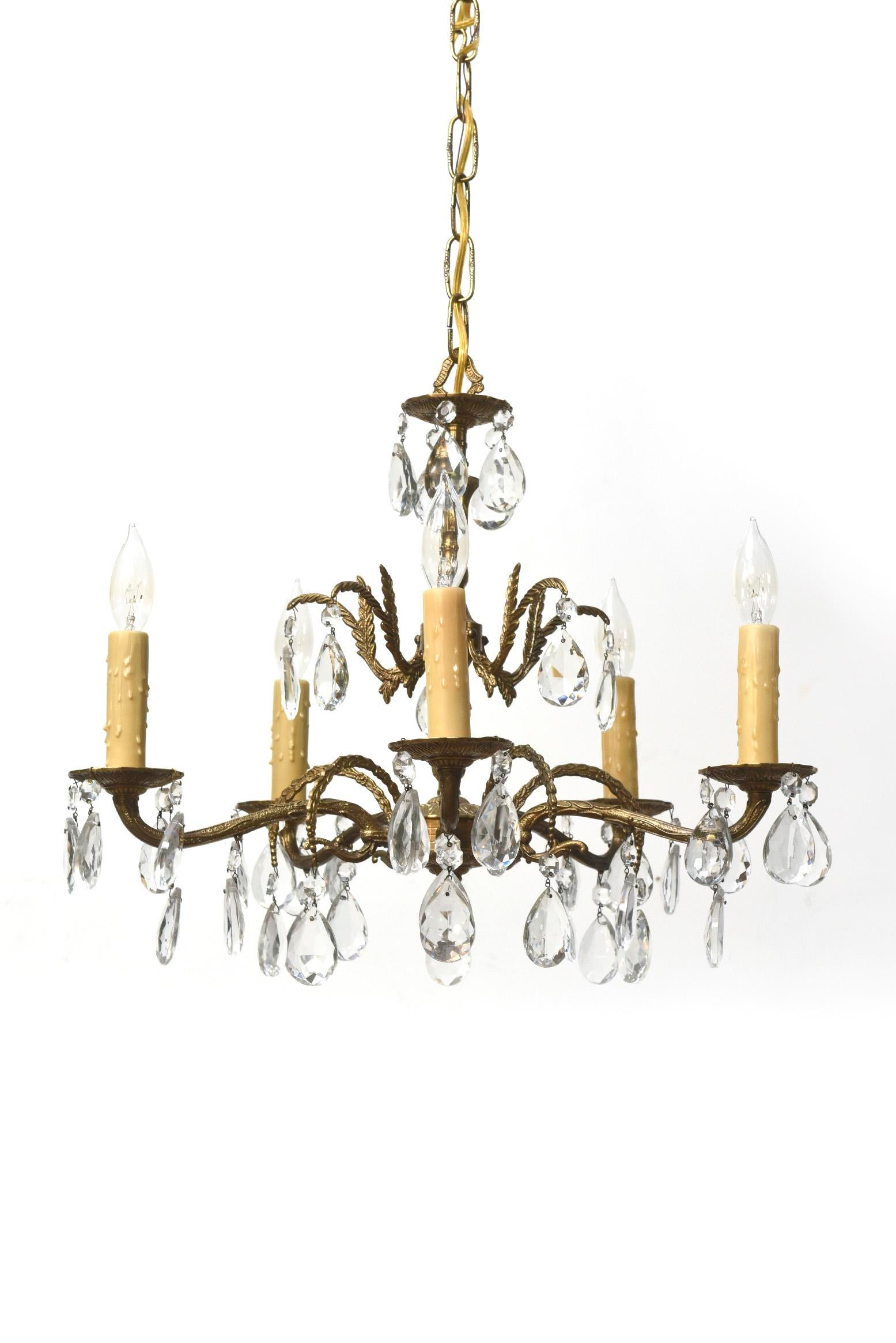 Five light spanish brass and crystal chandelier image 2 of 5