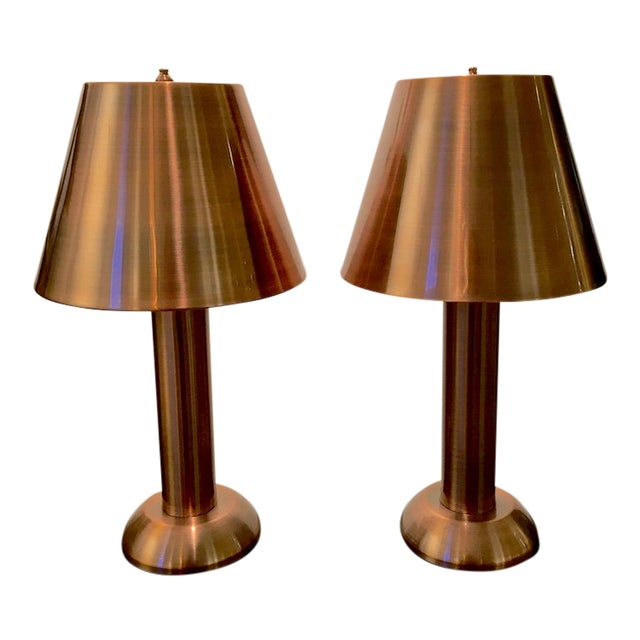 1990s Contemporary Copper Table Lamps - a Pair For Sale