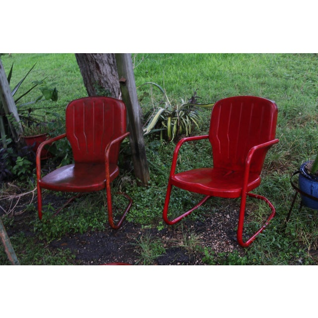 Vintage Metal Patio Glider & Two Chairs - Set of 3 For Sale - Image 5 of 10