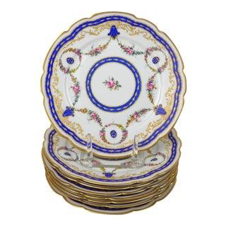 Antique Floral Porcelain Plates, S/8 For Sale