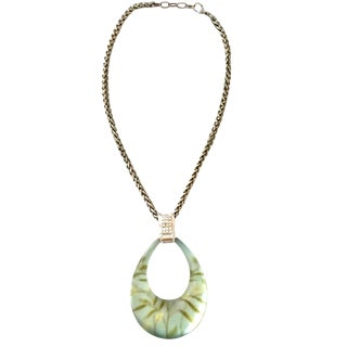 21st Century Alexis Bittar Silver Lucite & Crystal Pendant Necklace For Sale