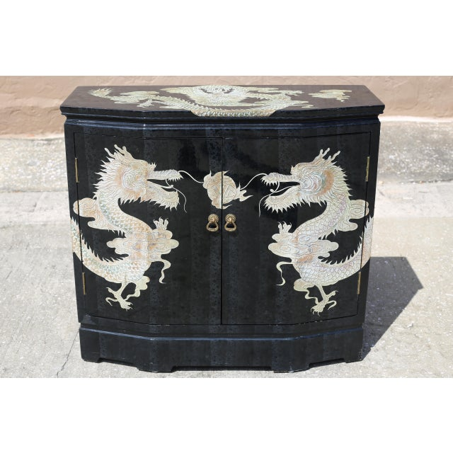 Vintage Chinoiserie Black Lacquered Cabinet With Carved Dragons For Sale - Image 12 of 12