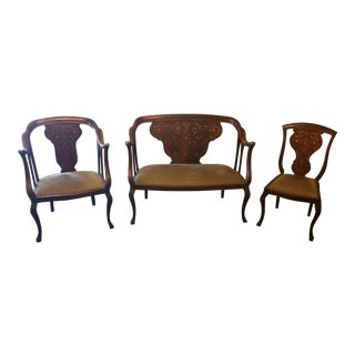 19th C. Dutch Marquetry Settee, Side Chair and Arm Chair - Set of 3 For Sale