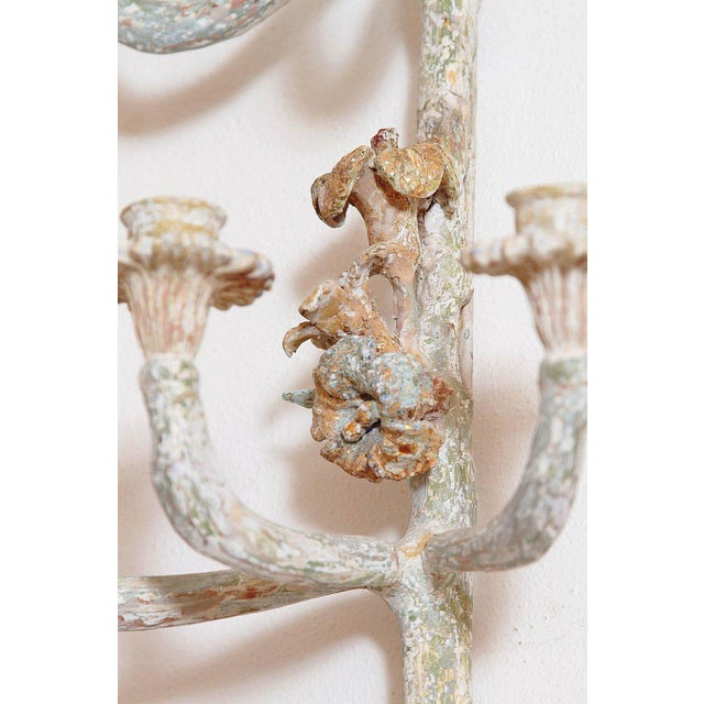Pair of Italian Painted Carved Wood Sconces For Sale - Image 11 of 13
