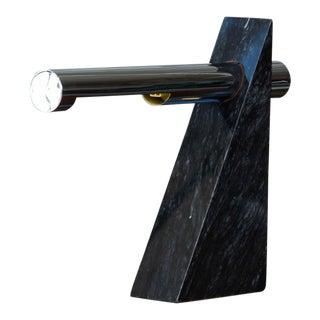 Robert Sonneman Chrome and Marble Table Lamp For Sale