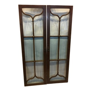 Edwardian Mahogany & Beveled Glass Doors- A Pair