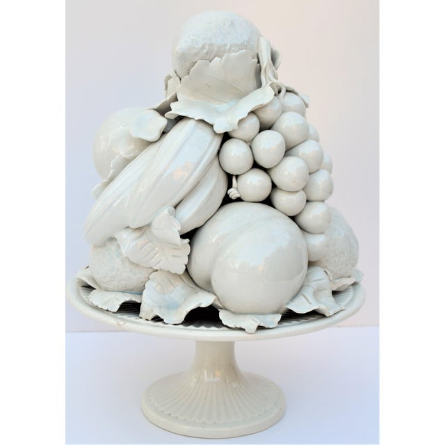 Ceramic 1970s Vintage Italian Blanc De Chine Majolica White Topiary For Sale - Image 7 of 7