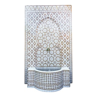 XL Beige & White Moroccan Wall Fountain For Sale