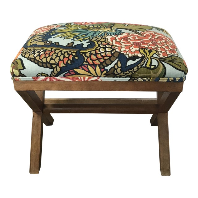 Schumacher Chiang Mai Dragon Aquamarine Upholstered X Bench For Sale