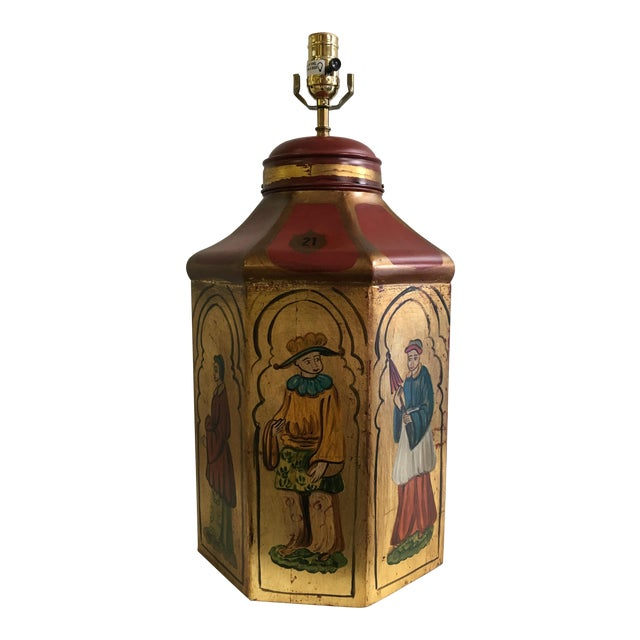 Vintage Tole Octogan Hand Painted Lamp - Image 1 of 11