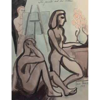 1948 Painter and His Models Mid-Century Modern Watercolor by James Bone For Sale