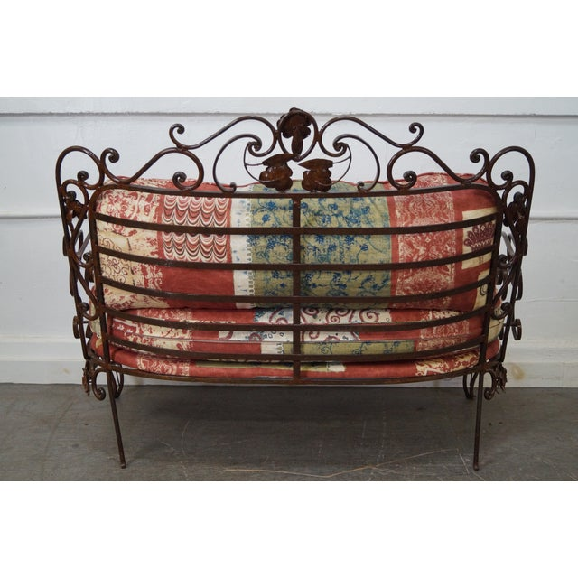 Ornate Wrought Iron Rococo Style Settee With Cushions For Sale - Image 4 of 10
