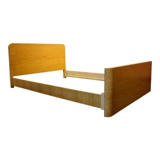 Minimalist Art Deco Mid Century Modern Maple Wood Full Size Bed Frame For Sale