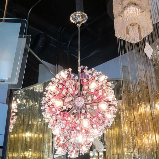 1960s Midcentury Modern Glass, Chrome and Fuschia Enamel Chandelier by Rupert Nikoll For Sale - Image 5 of 12