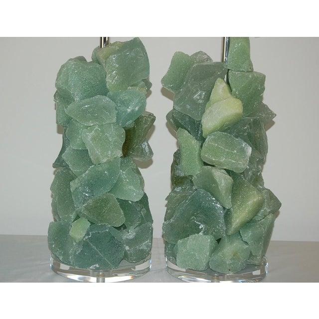Glass Rock Table Lamps by Swank Lighting Sea Foam Green - a Pair For Sale In Little Rock - Image 6 of 12