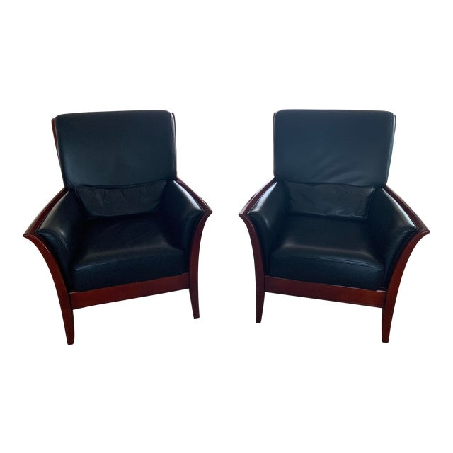 Maurice Villency Italian Leather Living Room Chairs - a Pair For Sale
