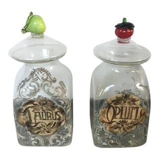 1920s Italian Hand Painted Blown Glass Jars - a Pair For Sale
