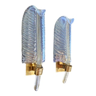 Barovier Murano Leaf Opalescent & Gold Glass Sconces -a Pair For Sale
