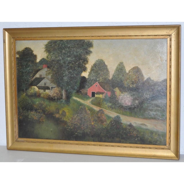 Country 19th Century Barn & Farm House Country Landscape For Sale - Image 3 of 6