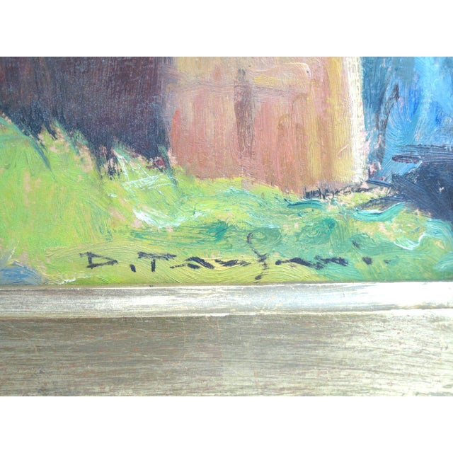Impressionist 1950s Vintage Desiderio Tanfani Italian Landscape Oil on Board Painting For Sale - Image 3 of 7
