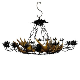 Vintage Antler Chandelier With Forged Iron Suspension For Sale
