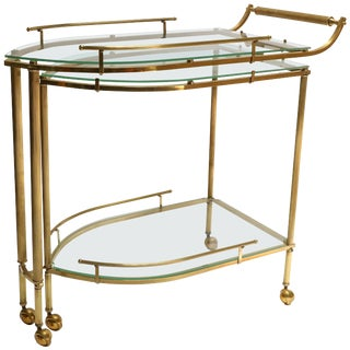 1960s Italian Brass Bar Cart With Swing Out Glass Shelves For Sale