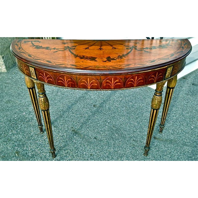 William Moore Rare and Exquisite Adam Period Satinwood and Gilt Demi-Lune Irish Console Table For Sale - Image 4 of 6