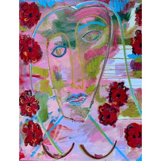 """With Poppies"" Contemporary Abstract Expressionist Portrait Oil Painting by Monica Shulman"