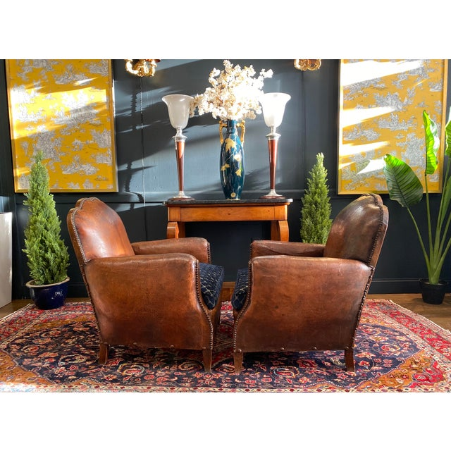 Christian Lacroix 1930's Vintage Art Deco Leather Club Chairs - A Pair For Sale - Image 4 of 10