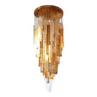Large Brass Murano Glass Pendants Chandelier, G. Sciolari Style, 1970's. For Sale
