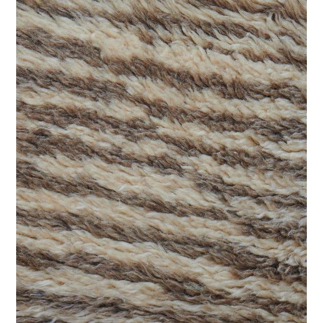 2010s Handwoven Deep Pile Wool Rug For Sale - Image 5 of 7