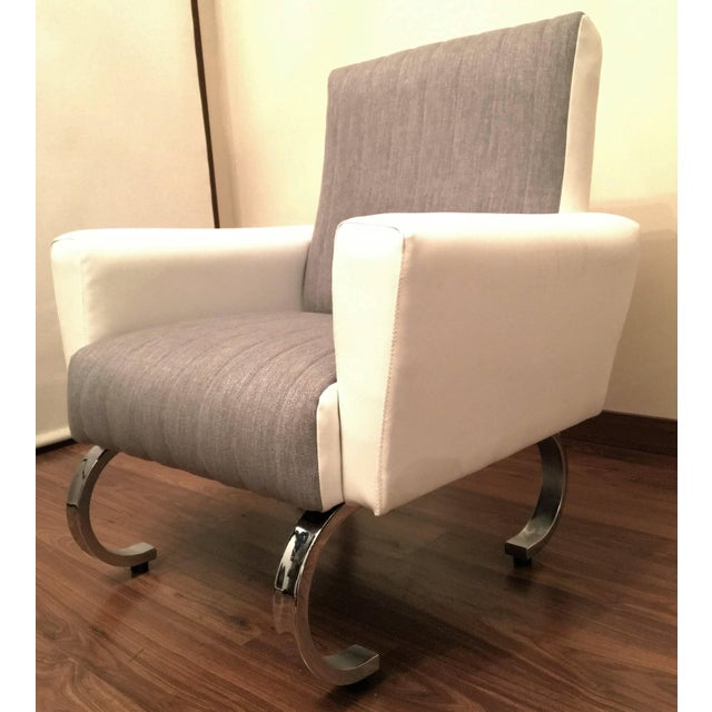 Mid-Century Exclusive Pair of Sleek Italian Armchairs With Curved Metal Base For Sale - Image 4 of 7