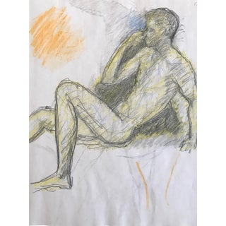 1980s Reclining Male Nude Drawing by James Bone For Sale