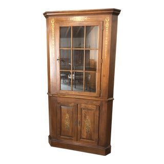 1980s Traditional Hitchcock Corner Cupboard For Sale