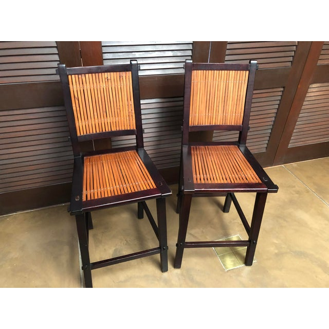 Asian Inspired Wood and Bamboo Bar Stools - A Pair For Sale - Image 12 of 12