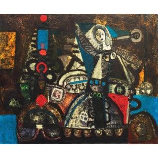 'Modernist Figural Oil' by Augustin Ubeda, Spanish Surrealist For Sale